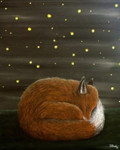 Sleeping by Firelight - Fox and Firefly painting