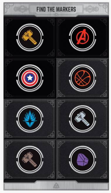 Screenshot of Marvel AR Mobile showing the 8 different markers to find at GOMA