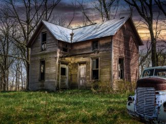 abandoned 1940s Dodge COE-Old House