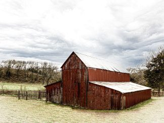 Winter Red Barn Scene 8477