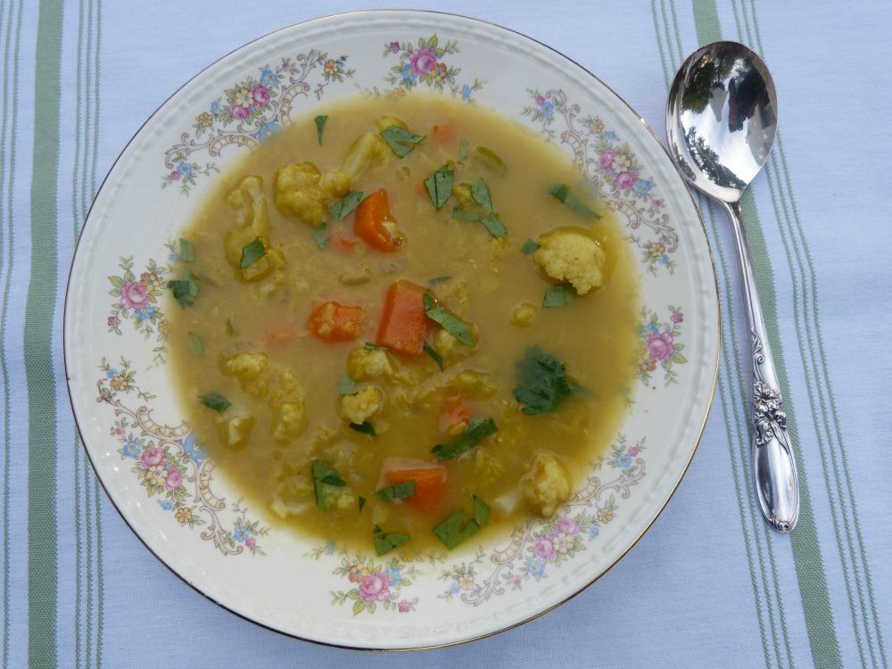 Red Lentil Cauliflower Soup
