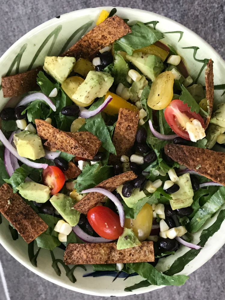 Baked Tortilla Strips on a tasty and healthy taco salad