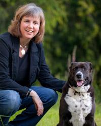 Website development guru Marta Goertzen and her dog, Bailey.