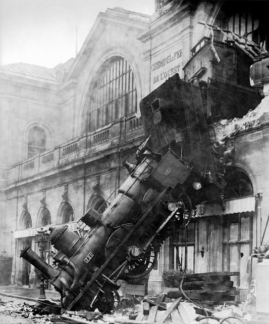 Train engine has crashed through a building. Keeping your time line on the tracks.
