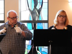 """Robert Lynn and Kenzie Hare recording """"Wondrous Love"""" and """"Ride On, King Jesus"""" (photo by Abigail Lynn)"""