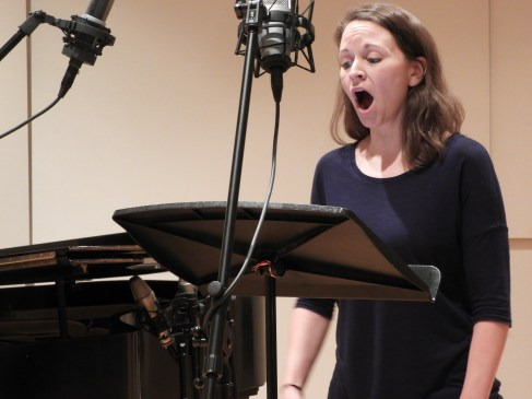 "Kira Lace Hawkins lending her beautiful voice to record ""Three Days."" (Photo by Clayton Marcum)"