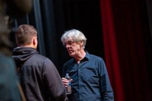 Stewart Copeland talking to an MU student