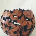 Cut leaf gourd bowl votive