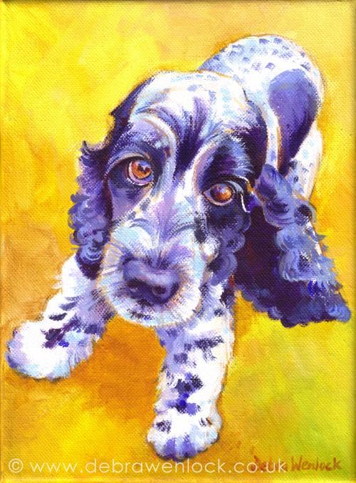 Spaniel Painting in acrylic by Debra Wenlock