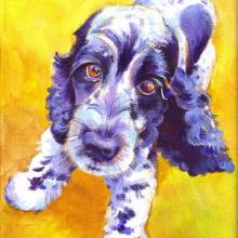 Spaniel Painting in acrylic by Debra Wenlock