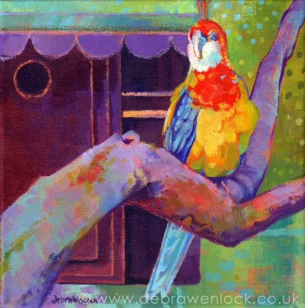 Primary Parrot Painting by Debra Wenlock