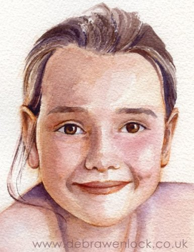 Anna - watercolour child portrait by Debra Wenlock