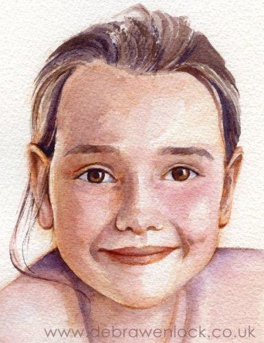 Anna - watercolour child portrait by Debra Wenlock