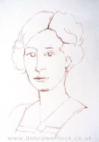 Lady Edith, Downton portrait sketch by Debra Wenlock