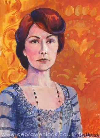 Lady Mary Crawley, acrylic & oil pastel