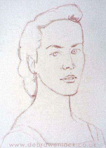 Lady Sybil, Downton portrait sketch by Debra Wenlock