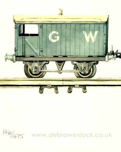 Tinplate Railway Print - Brake Van crop - Debra Wenlock