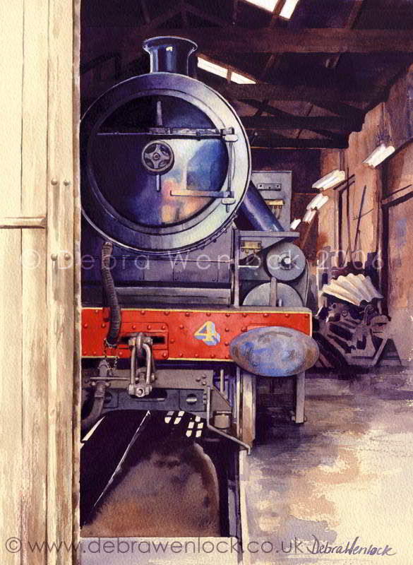 Steam Loco No 4 at Whitehead - watercolour painting by Debra Wenlock