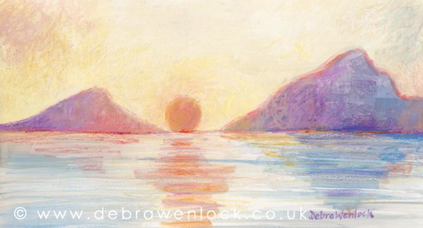 Delphi Valley Sunset - Irish Landscape painting by Debra Wenlock