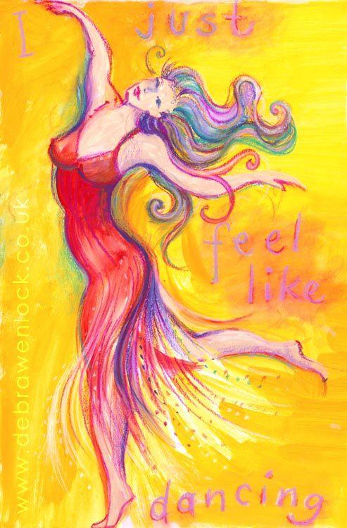I just feel like Dancing painting in acrylic & pastels by Debra Wenlock