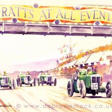 Ards Tourist Trophy MG Watercolour Painting by Debra Wenlock