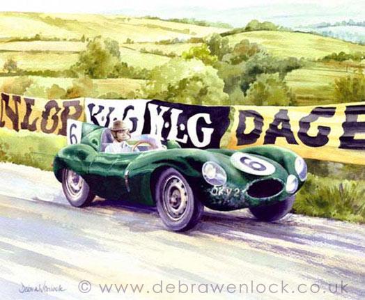 D-Type Jaguar Prototype at Dundrod TT, watercolour by Debra Wenlock