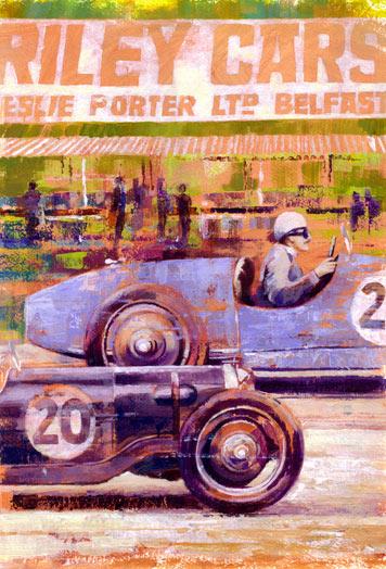 Riley Cars, acrylic painting by Debra Wenlock