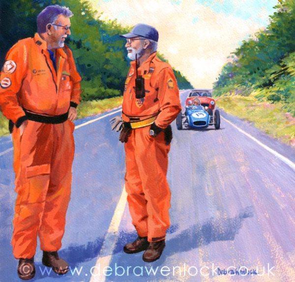 Craigantlet Hillclimb Marshals Painting by Debra Wenlock