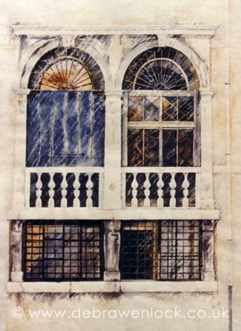 Venetian Windows - watercolour by Debra Wenlock