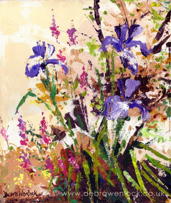 Irises painting by Debra Wenlock