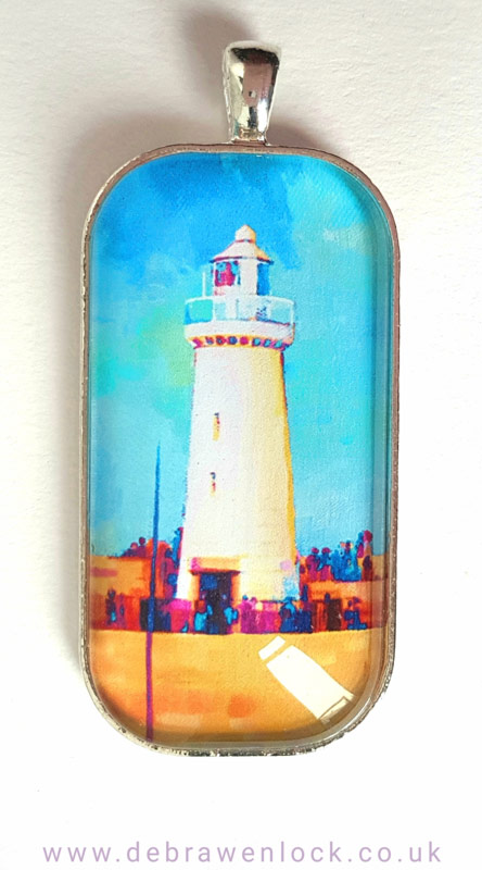 Lighthouse Art Pendant, turquoise by Debra Wenlock