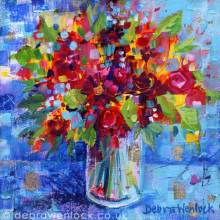 Whola Lotta Posy painting in acrylic & silver leaf