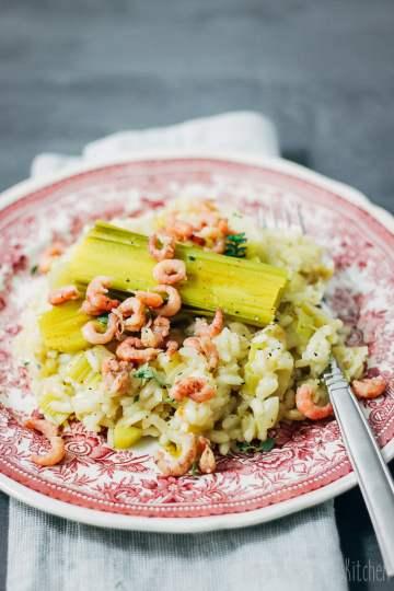 risotto met prei en Hollandse garnalen