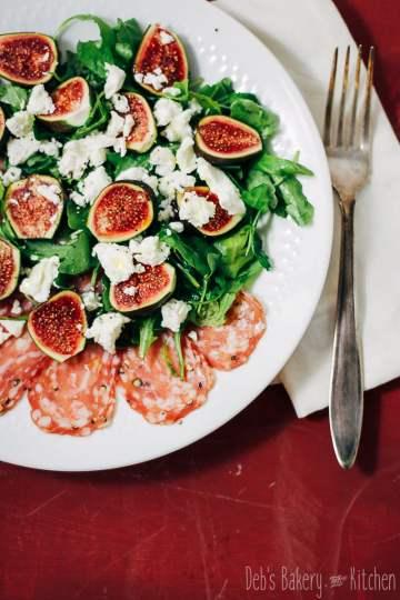 salade met vijgen en spianata romana