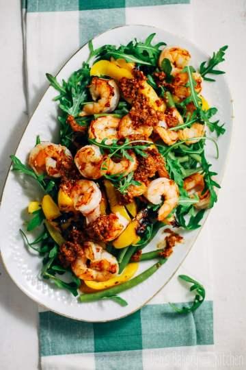 sperziebonen salade met gamba's