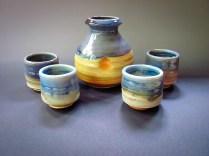 Wood/salt fired porcelain sake set