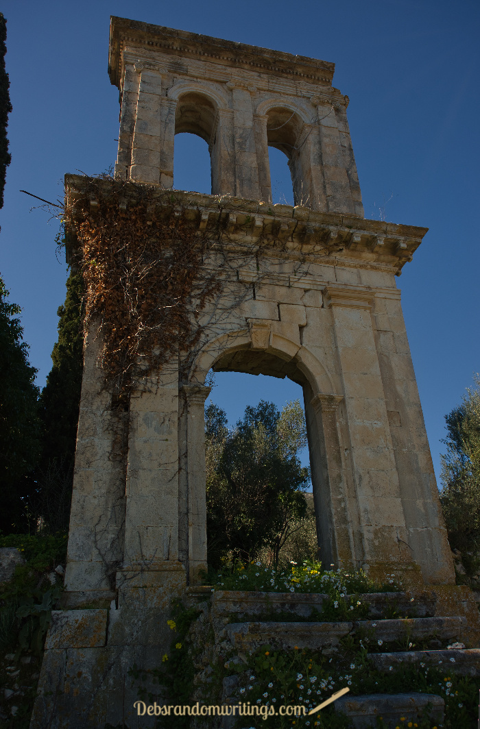 The bell tower stood at the front of the ruins of old Lagadakia .