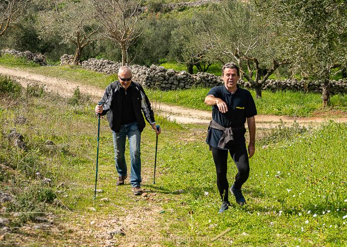 Two men hiking.