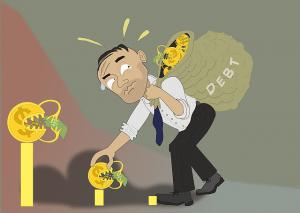 man picking up debt