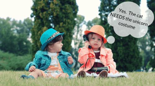 children talking on a phone
