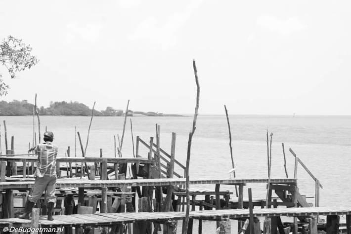 Visser bij Nieuw-Nickerie, district Nickerie