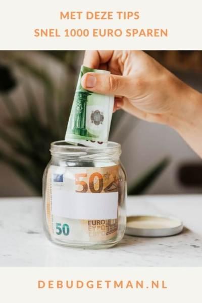 Met deze tips snel 1000 euro sparen #sparen #geld #geldsparen #DeBudgetman