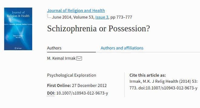 schizophrenia is not demonic