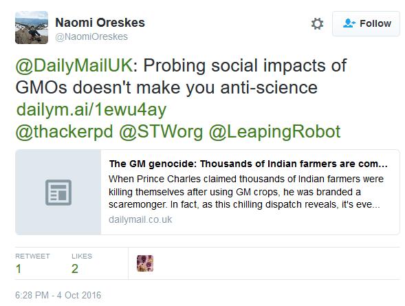 Oreskes on GMOs in 2016