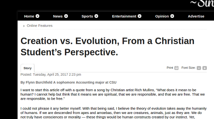 Confused creationist article
