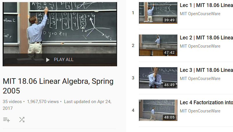 Linear Algebra video lectures with Gilbert Strang from MIT