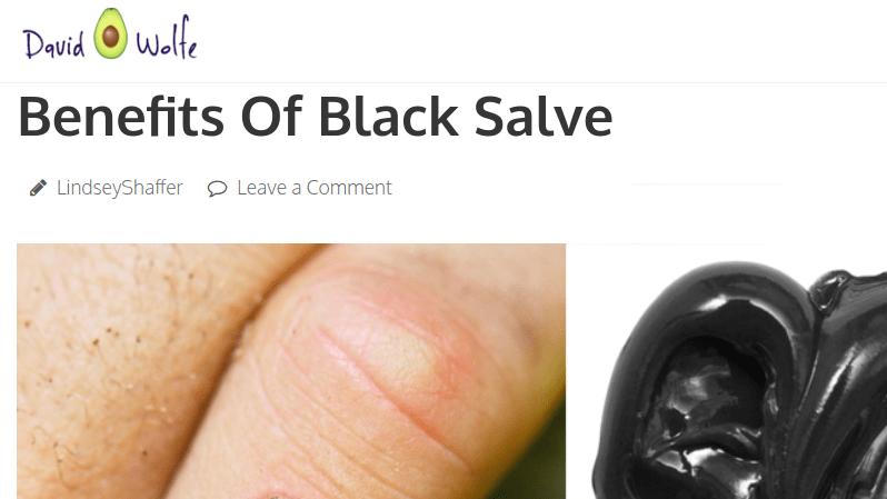 David Avocado Wolfe promotes corrosive black salve