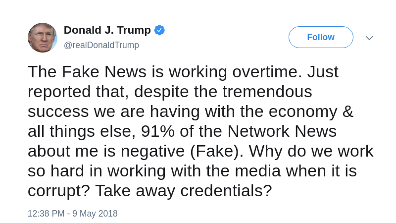 Fake news abuse by Trump