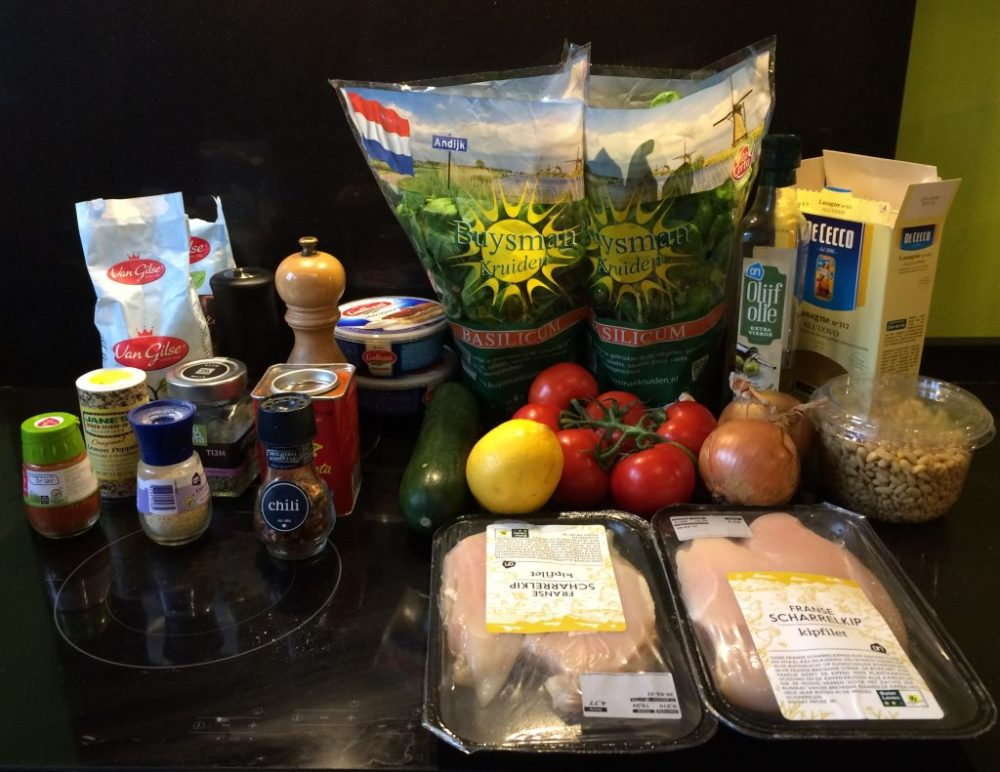 Ingredienten Pulled Chicken lasagne mascepone en pesto