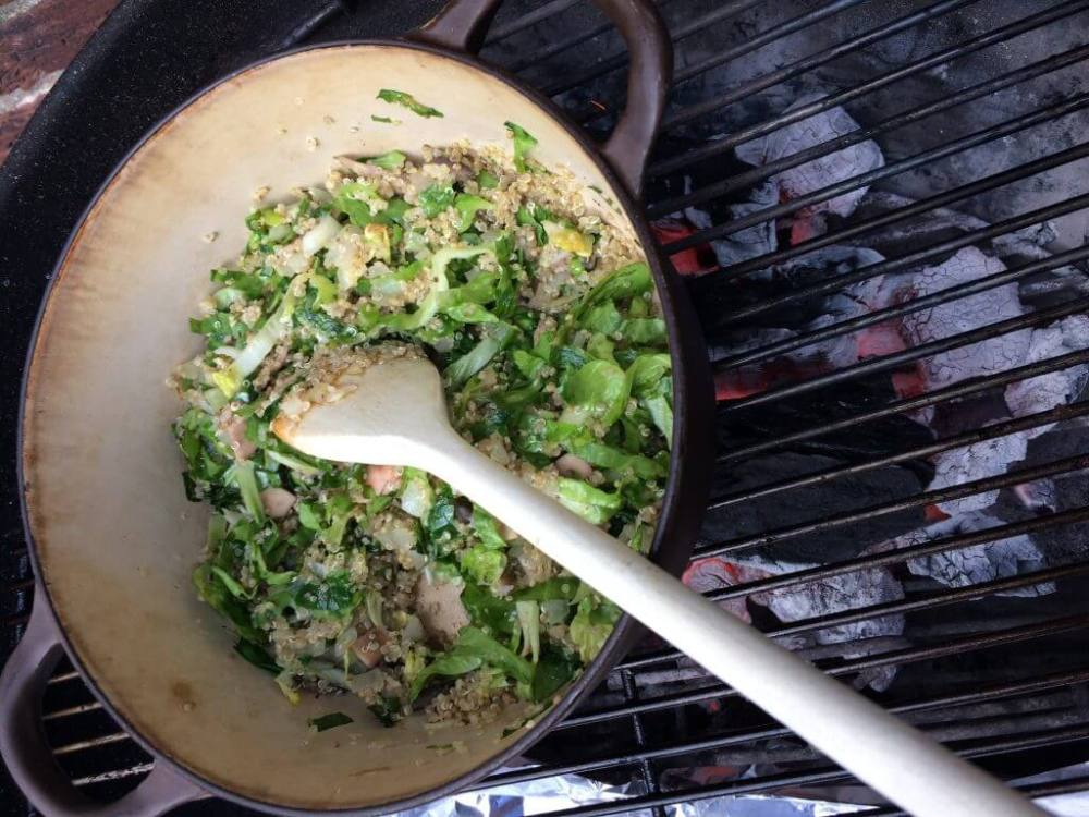Vulling portobello met quinoa en andijvie